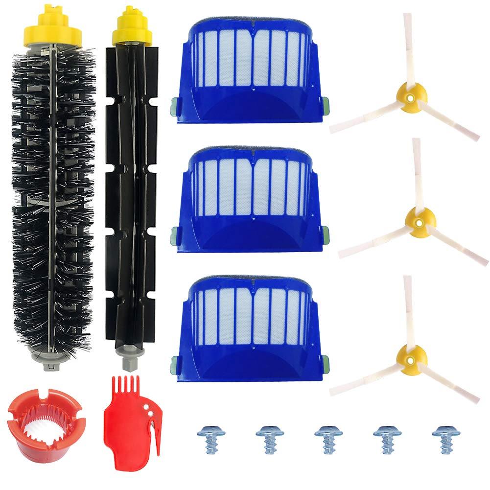 Kit Cepillos Repuestos de Accesorios para Aspiradoras iRobot Roomba Serie 600 605 610 615 616 620 625 630 631 632 639 650 651 660 670 671 680 681 691-15PCS