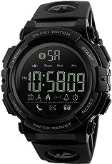 SKMEI Smartwatch Deportivo con Pantalla Digital, Resistente al Agua, con Funciones de Salud, Notificaciones, Podómetro, Contador de Calorías, Cronómetro, Medidor de Distancia, Modelo 1303. Negro