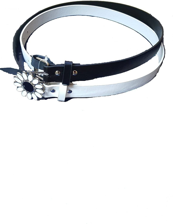 Amici Girls Accessories 2-Piece Leather Belt Set Black White