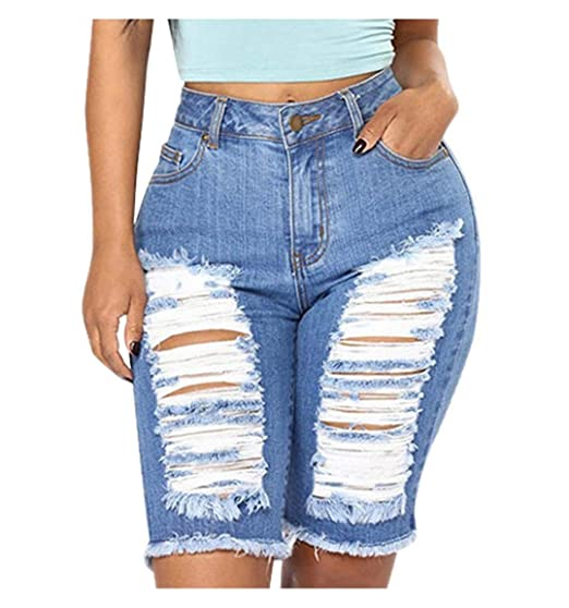 cd041e789ae1d Kehen Womens Casual Denim Destroyed Bermuda Shorts Jeans Ripped Knee Length  (Blue