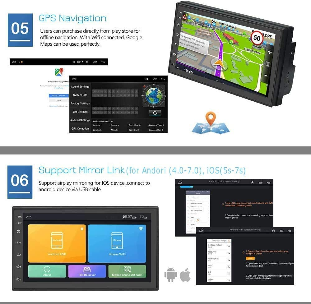 Hikity New Double Din Android Car Stereo with GPS 6.8 Inch ...