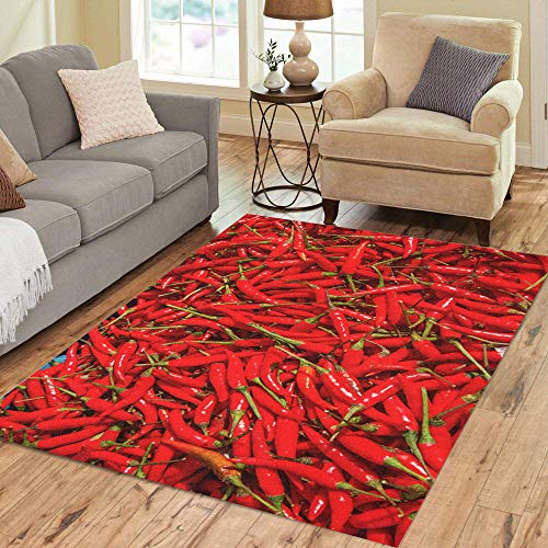 - Pinbeam Area Rug Green Abstract Red Hot Chili Peppers As Food Home Decor Floor Rug 5' x 7' Carpet