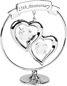 Haysom Interiors Modern 25th Anniversary Silver Plated Metal Keepsake Gift Ornament with Clear Swarovski Crystal Glass