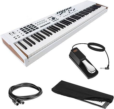 Arturia KeyLab 88 MkII Controlador MIDI de acción de martillo (blanco) con pedal de sostenimiento, cable MIDI de 10 pies y cubierta de polvo para ...