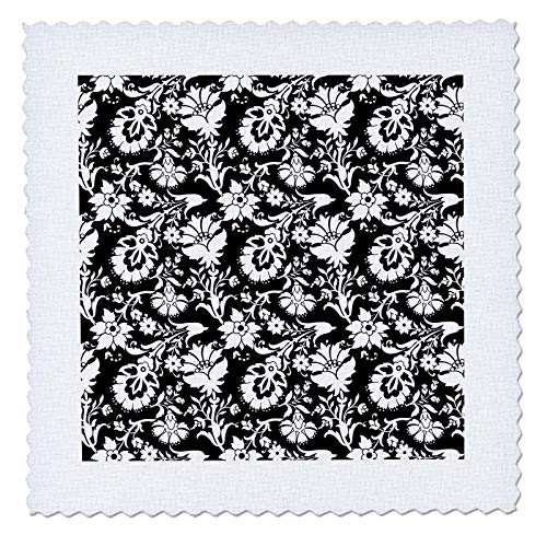 3dRose Anne Marie Baugh - Patterns - Chic Black and White Art Nouveau Floral Pattern - 14x14 inch quilt square (qs_317675_5)