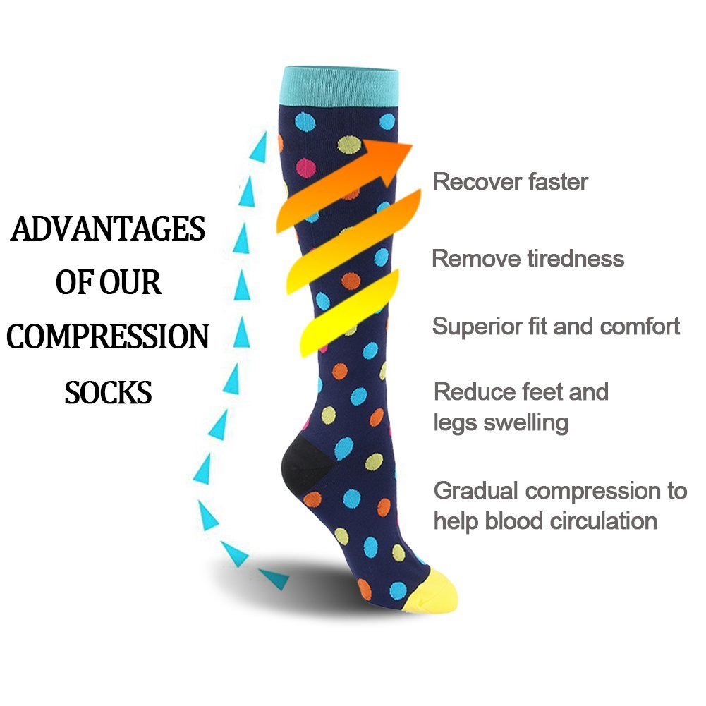 Compression Socks for Men & Women - 20-30mmHg 2 to 3 pairs Compression Stockings for Runners, Edema (Small/Medium, Assort 8, 6 pairs) by Fotociti (Image #7)