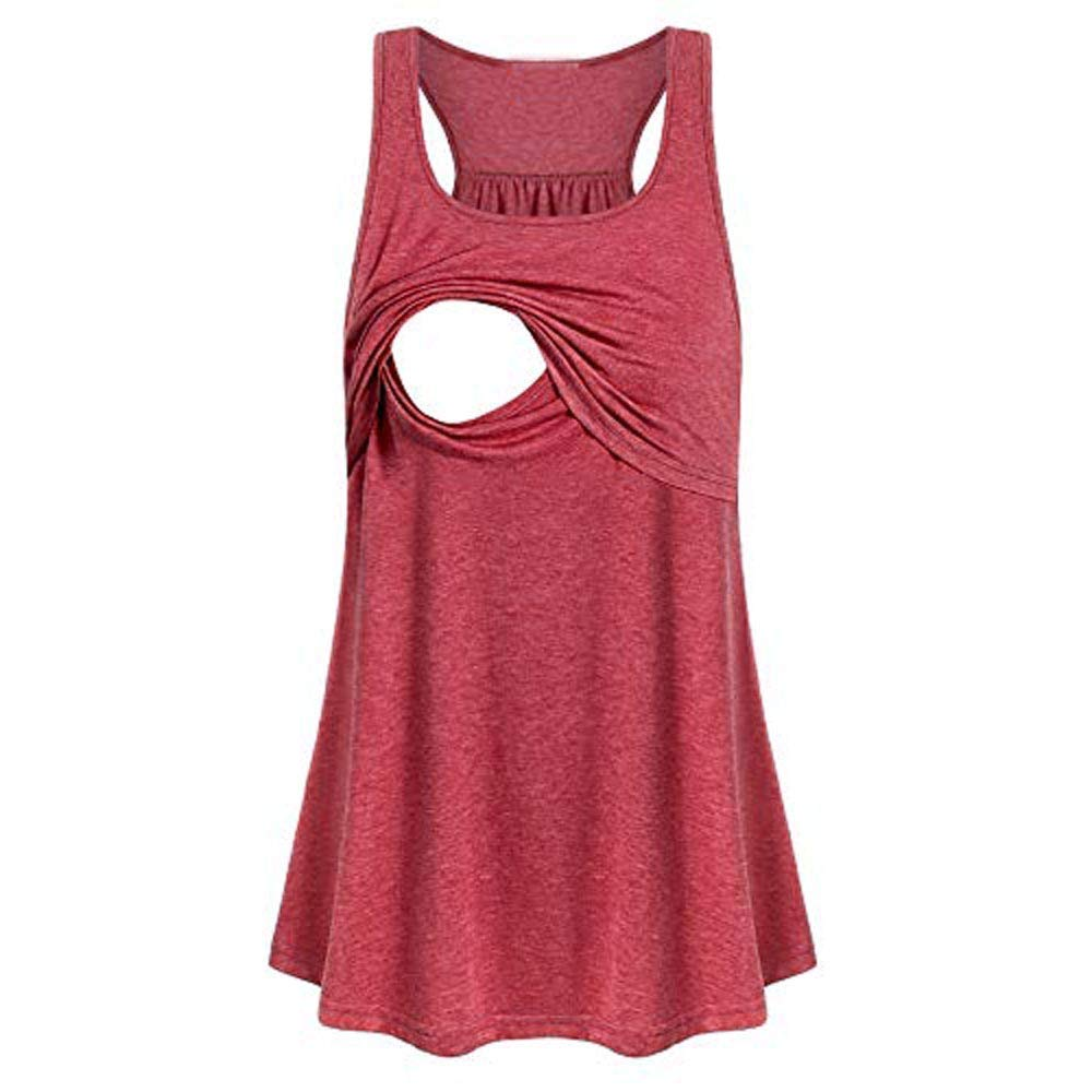 vermers Womens Maternity Tank Tops Casual Loose Comfy Pull-up Nursing Tanks Breastfeeding Vest T Shirt Pregnant Clothes(S,Pink) by vermers Maternity (Image #1)