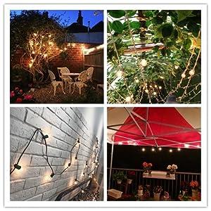 DEEPLITE 25 Feet G40 Outdoor String Lights with 25 Clear Globe Bulbs, Hanging Indoor Outdoor String Lights for Patio Backyard Bistro Garden Pergola Umbrella Party Deckyard Cafe