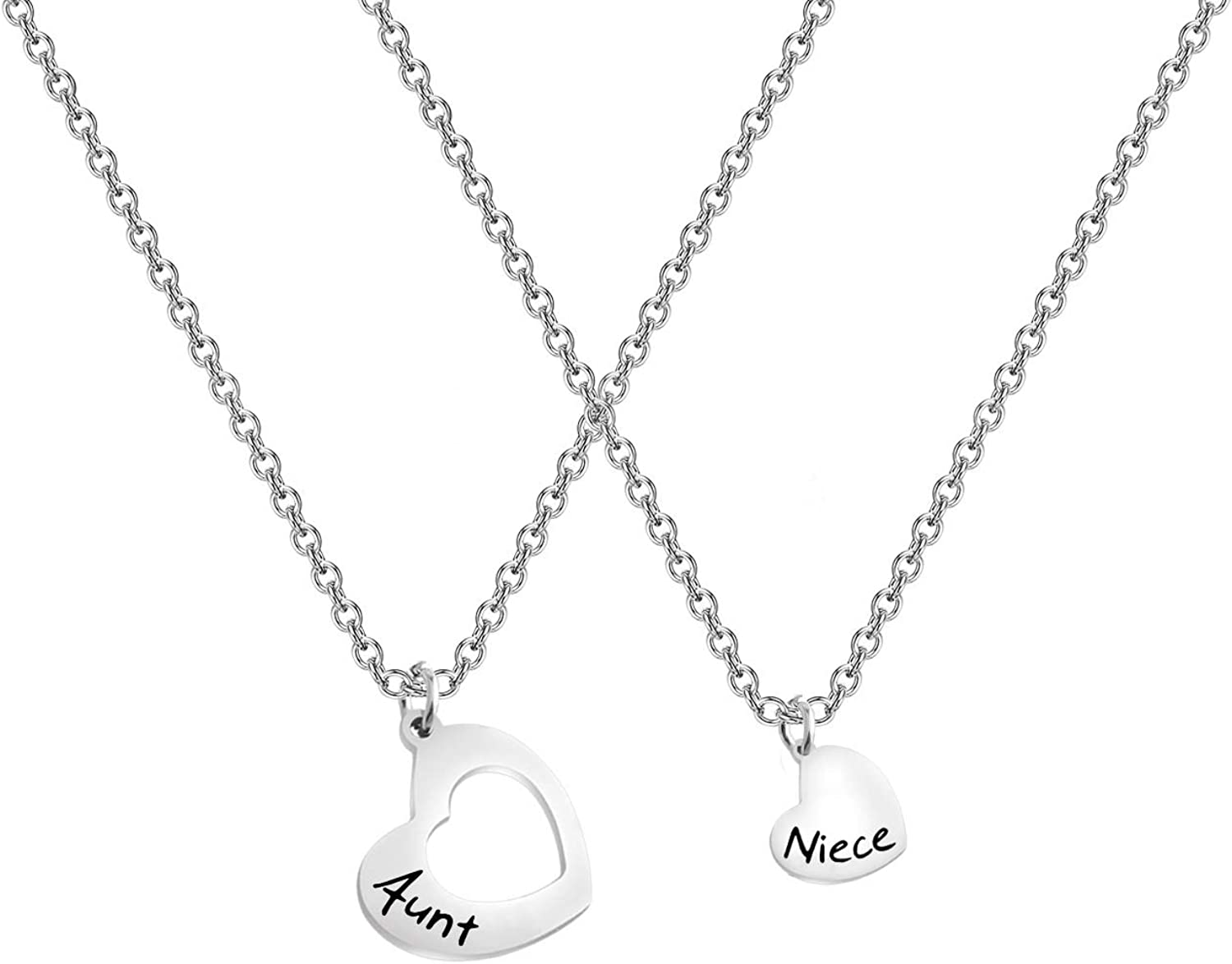 AKTAP Gift for Aunt Necklace Auntie And Niece Love Heart Pendant Necklace Gifts for Aunt from Niece Nephew