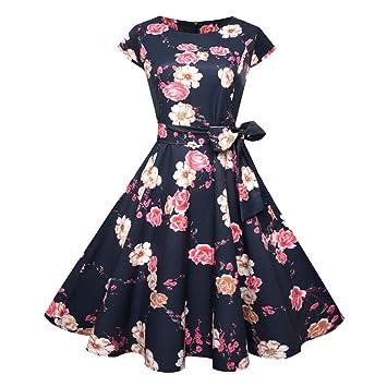 c134c9bab5630b Damen Vintage Kleid Yesmile 50s Retro Cocktail Kleider Mode Retro Rockabilly  Kleid Partykleider Blumenmuster