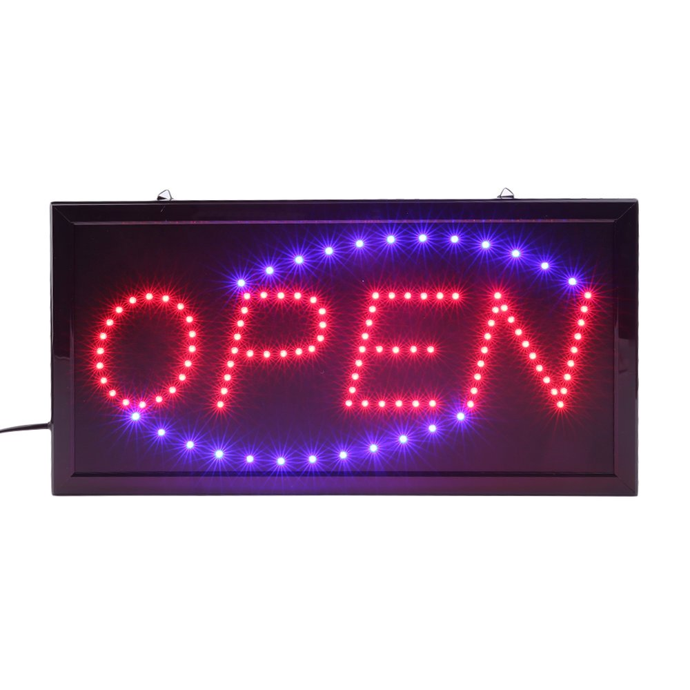 Poncherish insegna luminosa a LED insegne luminose open 48 cm x 25 cm x 2 cm