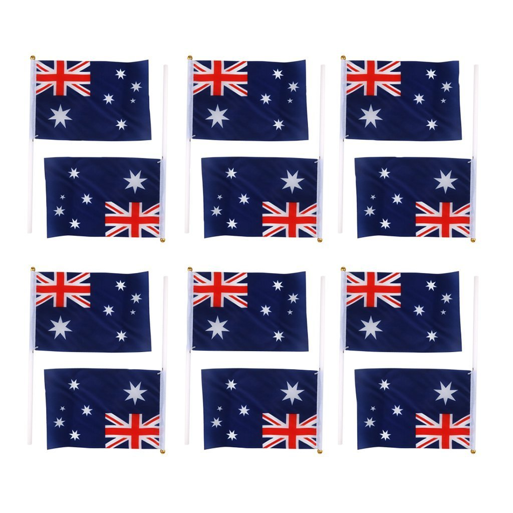 12Pcs Canada Hand Waving Flag Canadian Small National Flags Pole Banners NEW