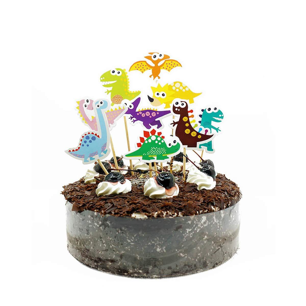 YeahiBaby Dinosaurio Pastel Toppers Magdalenas Decoraciones - Suministros de Fiesta de cumpleaños, 18 Piezas