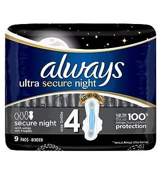 Always Ultra Secure Night - Toallas sanitarias (9 unidades, tamaño 4): Amazon.es: Salud y cuidado personal