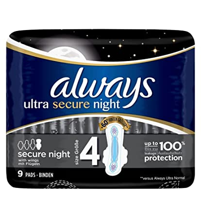 Always Ultra Secure Night - Toallas sanitarias (9 unidades, tamaño 4)