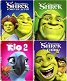 Dream Works 4 Movie Collection Shrek Forever After 3 + Rio 2 Animated Cartoon