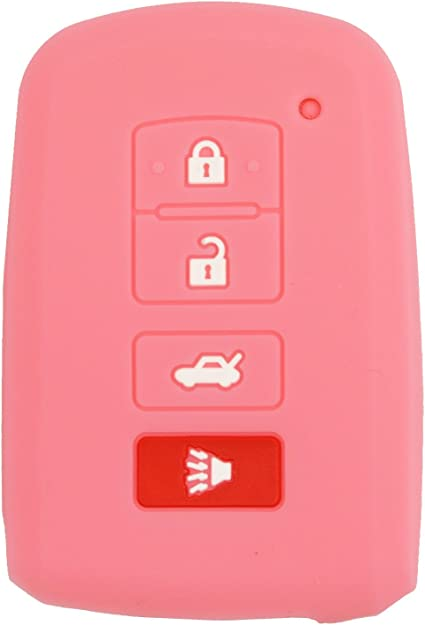 qualitykeylessplus Pink Silicone//Rubber Protective Cover for 4 Button Toyota Remotes FCC ID HYQ14FBA with Free KEYTAG