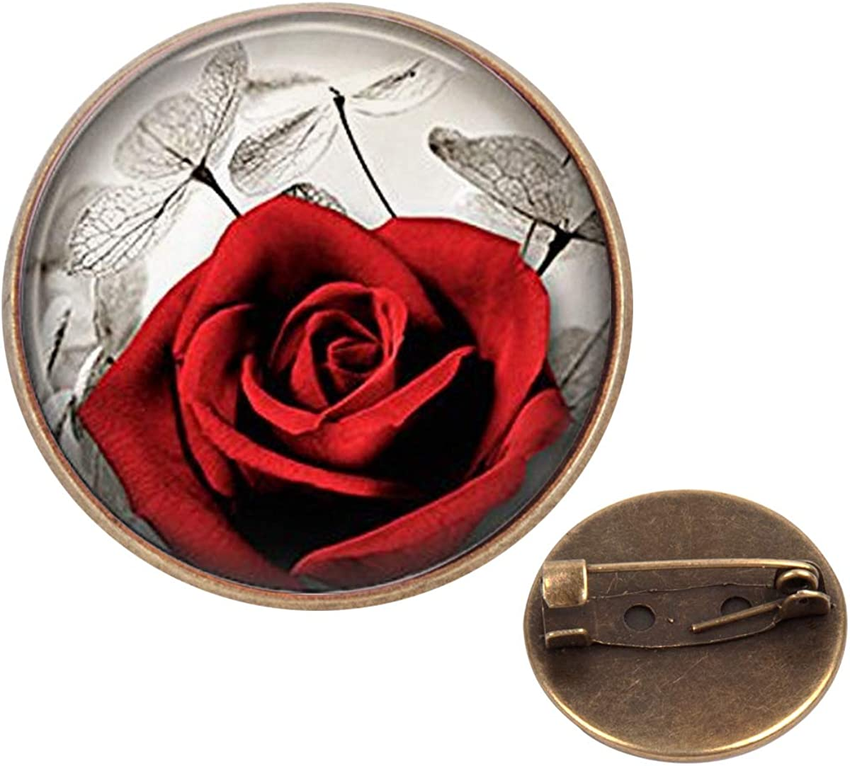 Pinback Buttons Badges Pins Red Rose Flower Lapel Pin Brooch Clip Trendy Accessory Jacket T-Shirt Bag Hat Shoe