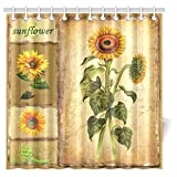 """InterestPrint Design Vintage Sunflowers Waterproof Polyester Fabric 72""""(w) x 72""""(h) Shower Curtain and Hooks"""