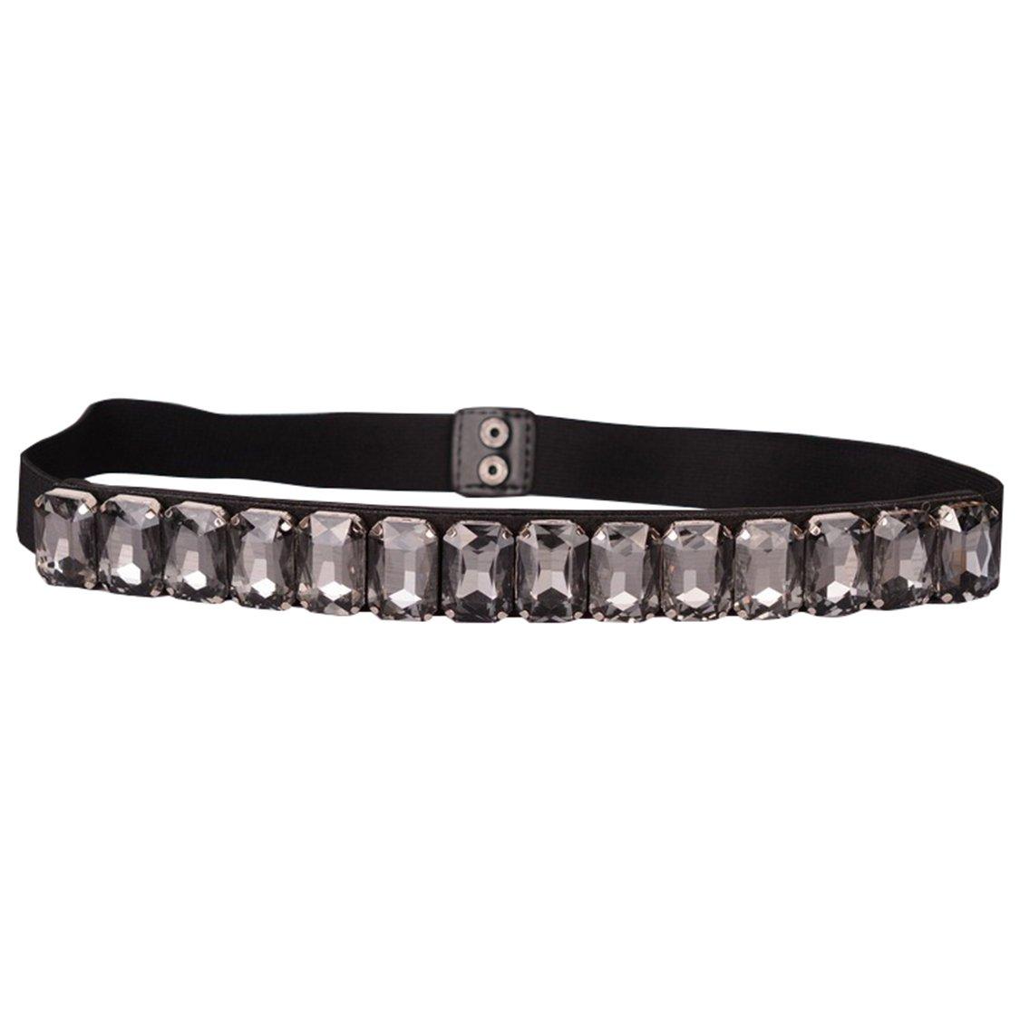 SanJL Women's Elastic Waist Belt with Rhinestone for Dress (Black)