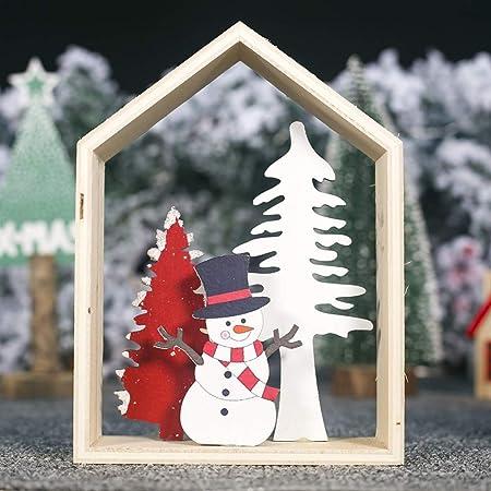 Handfly Decoración de Mesa de Navidad de Madera Muñeco de Nieve y ...