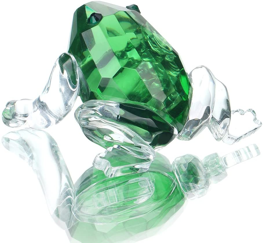 H&D HYALINE & DORA Small Crystal Frog Figurine Collection Paperweight Table Centerpiece Ornament(Green)