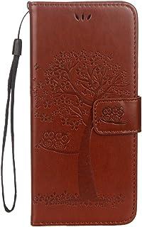 Qjuegad Coque Galaxy S8 Plus Etui en Cuir Housse de Protection avec Motif Arbre et Hibou Coque à Rabat Magnétique Flip Wallet Case avec Porte-Cartes Ultra Mince Folio Case Cover Étui,Vert