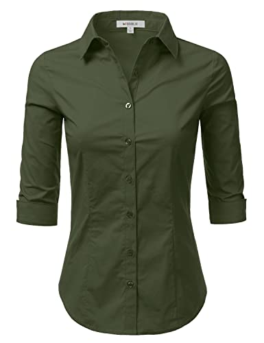 Doublju Solid 3/4 Sleeve Cotton Button Down Collared Shirt ( Plus size available)