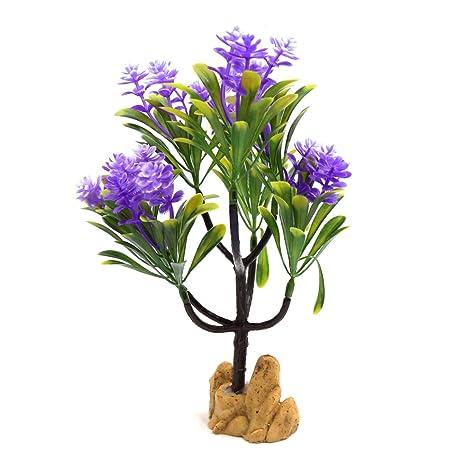 Sourcingmap® Planta Púrpura De Plástico Flores del Árbol Peces De Acuario Tanque Bajo El Agua