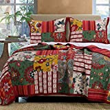 French Country Cottage Bedding Patchwork Stripes Floral Pattern Red Green Gold Luxury 100 Cotton Print Reversible Quilt 3 Piece Set with Shams Full/Queen Size - Includes Bed Sheet Straps