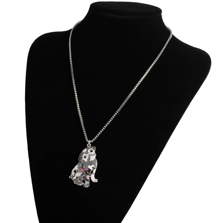 Amazon.com: Luckeyui - Collar para mujer, diseño de carlino ...