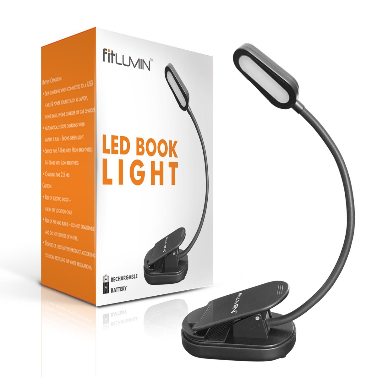 Fitlumin LED Book Light - Easy Clip on Reading Light for Bed – 3000K Warm Light Lamp for Eye Care, Slim & Rechargable – Best Book Light for Reading in Bed at Night, Perfect for Bookworms & Kids