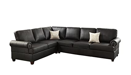 Poundex bobkona 3 piece bonded leather sectional sofa ebony