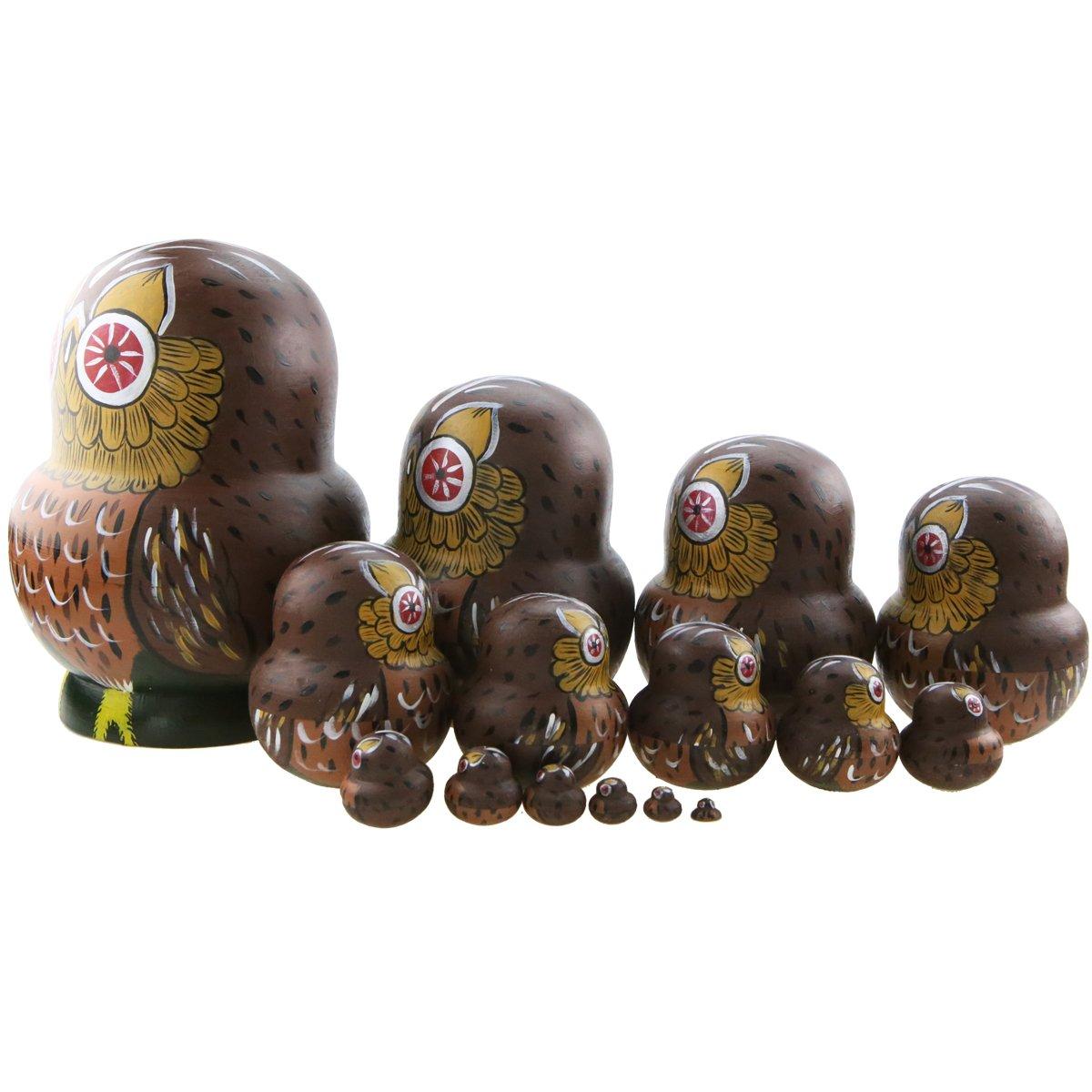Winterworm Set of 15 Pieces Cartoon Brown Owl Russian Handmade Wooden Nesting Dolls Matryoshka Dolls for Birthday Christmas New Year Gift Home Decoration Kids Toy by Winterworm (Image #4)