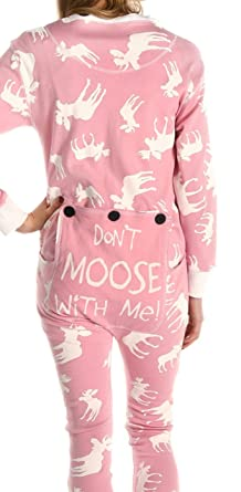 lazyone adult flapjack onesies x small classic moose pink