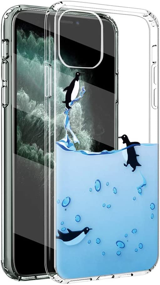 Eouine for Apple iPhone 11 Pro Max Case, Phone Case Transparent Clear with Pattern Ultra Slim Shockproof Soft Gel TPU Silicone Back Cover Bumper Skin for iPhone 11Pro Max (Penguins)