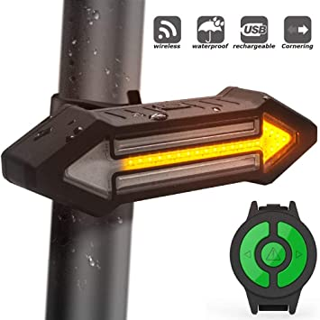 HAHAKEE Bike Tail Light, USB Rechargeable Bicycle Turn Signal with Wireless Remote Control, 500 Lumen Red & Yellow LED Road Safety Indicator Cycling ...