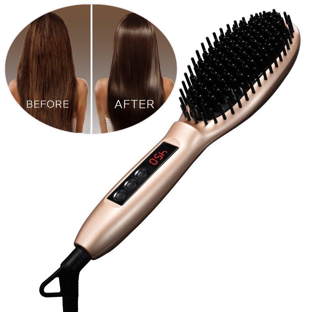 Cepillo para alisado, [Auto Lock] pictek cepillo de cabello, temperatura regulable (250 - 450 °F) con enchufe británico, eléctrica calor masaje peine ...