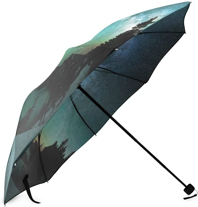 Custom Aurora Borealis Compact Travel Windproof Rainproof Foldable Umbrella