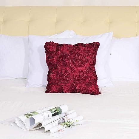 PICCOCASA - Funda de Almohada con diseño de Rosas de satén en 3D, Decorativa, Color Puro, Fundas de cojín Florales para sofá de 16 x 16 Pulgadas