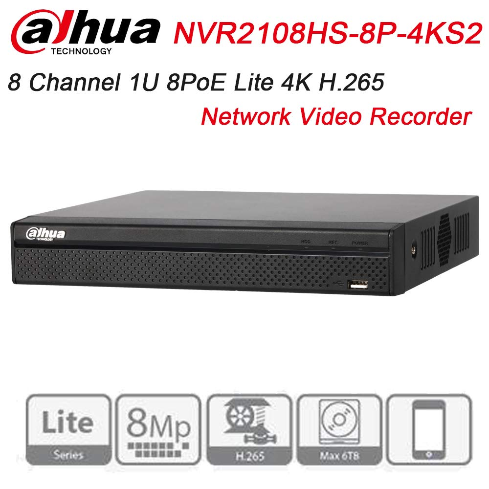 Dahua NVR NVR2108HS-8P-4KS2 8 Channel Compact 1U 8PoE Lite 4K H.265 Network Video Recorder Support Upgrate Firmware by Dahua