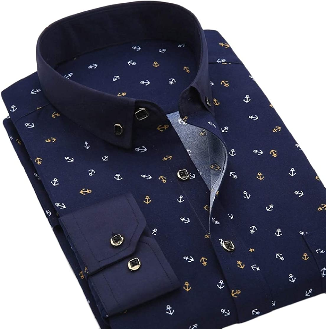 Colourful Mens Flower Print Business Oversize Leisure Dress Shirts Top