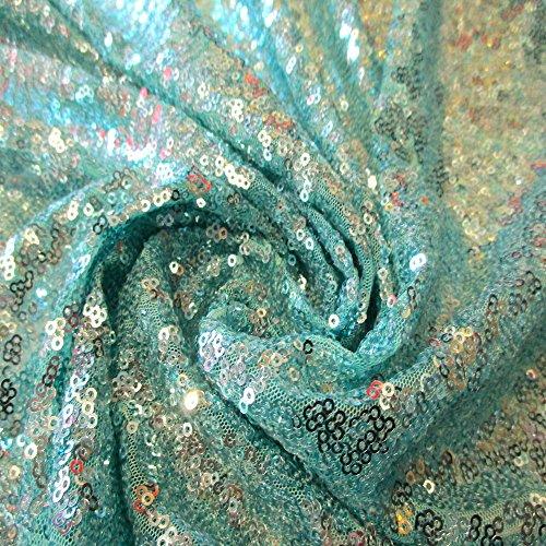 (Sea Foam Green Full Sequin 2 Way Stretch Mesh 100% Polyester 54