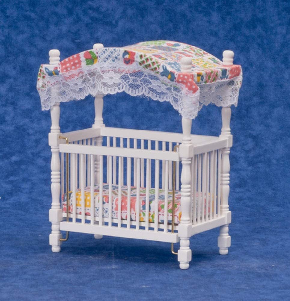 Dollhouse Miniature 1:12 Scale White Canopy Crib #D5293