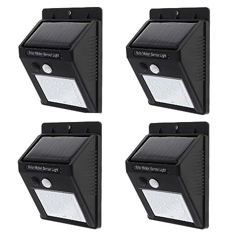 Sensor de movimiento de seguridad con 20 LED y carga de energía solar para pared,