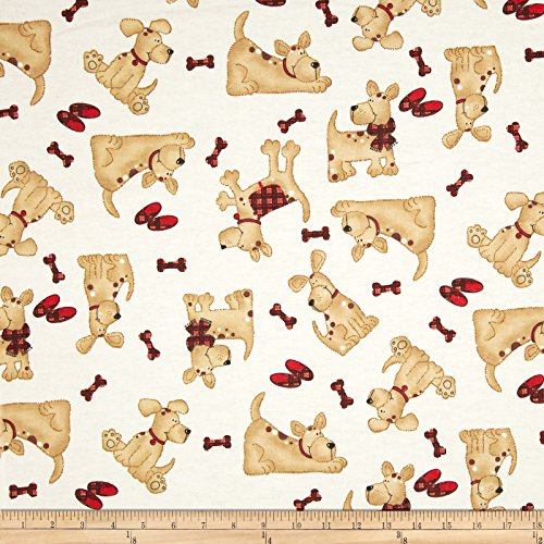(A.E. Nathan 0372271 Comfy Flannel Tossed Dogs Beige Fabric by The Yard,)