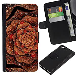 LASTONE PHONE CASE / Lujo Billetera de Cuero Caso del tirón Titular de la tarjeta Flip Carcasa Funda para Apple Iphone 6 4.7 / cabbage floral pattern copper bling gold