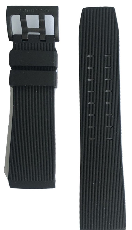 Authentic Hamilton Khaki Navy BelowZero Black Rubber Band Strap for Watch H78585333
