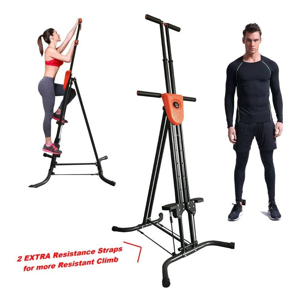 Coldcedar Foldable Vertical Climber Cardio Exercise with monitor and resistance straps for smooth climbing Full Body Workout As Seen On TV (Black, 286lbs)