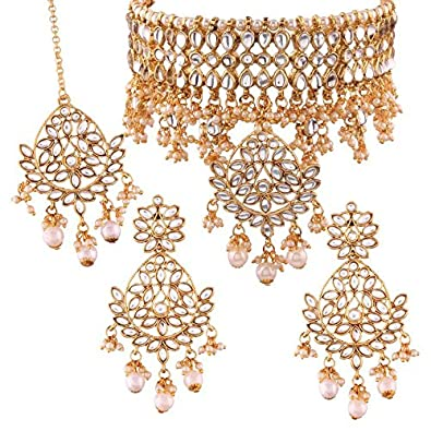 d24b436b81465 Buy I Jewels Gold Plated Traditional Kundan Choker Necklace Set with  Earrings   Maang Tikka for Women (K7068W) Online at Low Prices in India
